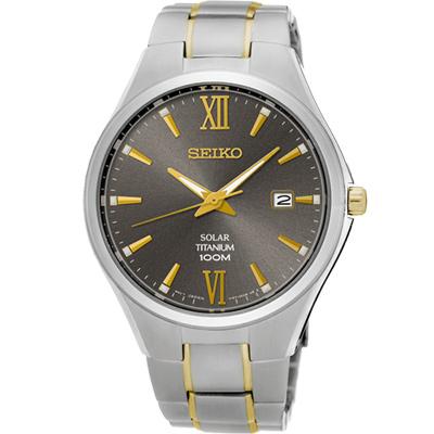 SEIKO 鈦都會太陽能時尚腕錶(SNE409P1)-灰x雙色版/40mm