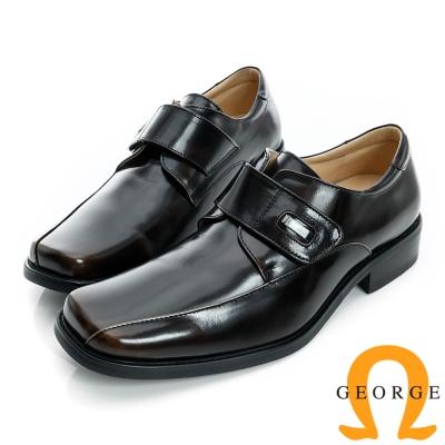 GEORGE-魔鬼沾皮帶素面真皮方頭鞋-古銅色