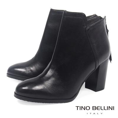 Tino Bellini 靴口不規則結構高跟短靴_ 黑