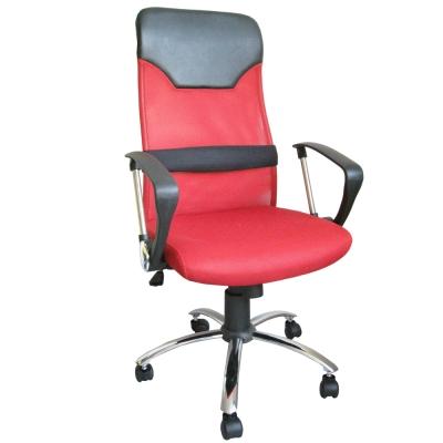 Dr.DIY 透氣網布(鋼管腳)高背主管椅/辦公椅/電腦椅(紅色)