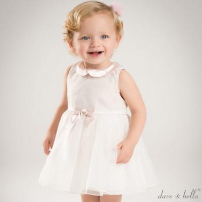 Dave Bella 淡粉緞面翻領白色紗裙無袖禮服洋裝