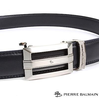 PB 皮爾帕門-經典方切框中紋橫Logo款-頭層牛皮自動扣皮帶-855-黑