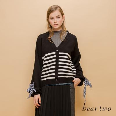 beartwo 清新橫條公主蓬袖綁帶針織外套(二色)