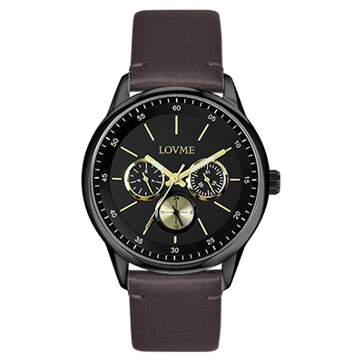 LOVME 雅痞時尚中性手錶-IP黑x金/41mm