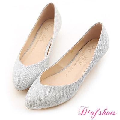 D+AF 星星指標‧金蔥閃料小V口尖頭低跟鞋*氣質銀白