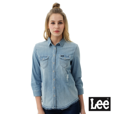 Lee 牛仔Vintage Laundry百搭易配小破壞襯衫-女-藍色