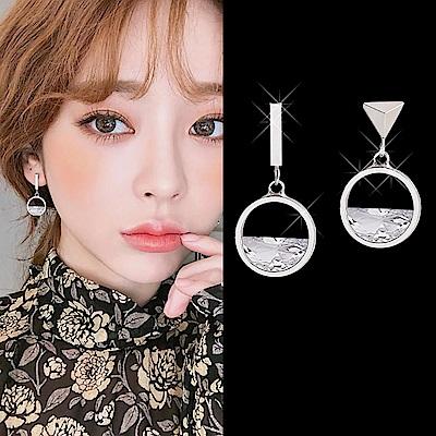 梨花HaNA 韓國925銀水晶菱鏡簡約圓型耳環