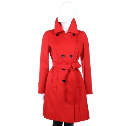 MARELLA 羊毛排釦設計綁帶大衣(紅色)