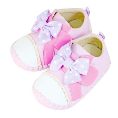 Swan天鵝童鞋-點點蝴蝶結翹頭學步鞋1496-紫