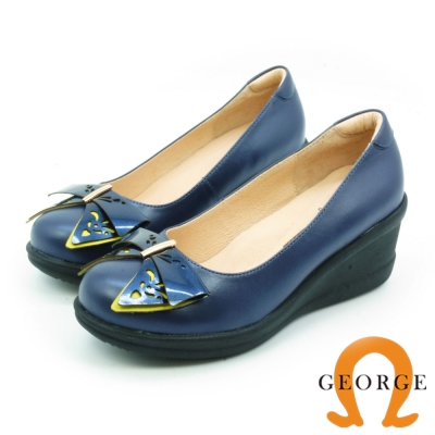GEORGE 喬治-鏤空撞色金屬飾釦真皮輕量厚底鞋 寶藍色