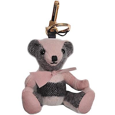 BURBERRY 經典格紋喀什米爾Thomas 泰迪熊吊飾/掛飾(玫瑰粉色)