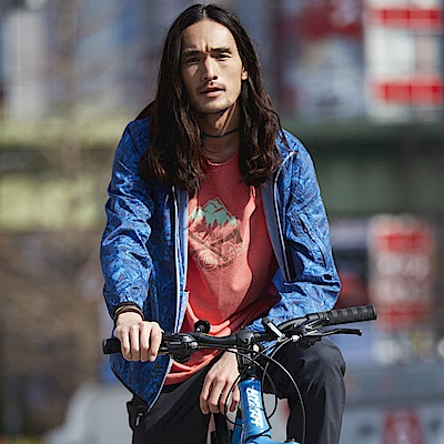 【Wildland 荒野】男抗UV輕薄印花外套-藍色
