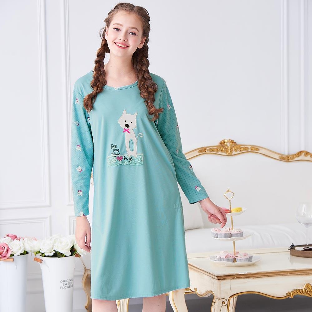 睡衣 精梳棉柔針織 長袖連身睡衣(65205)藍綠色 蕾妮塔塔