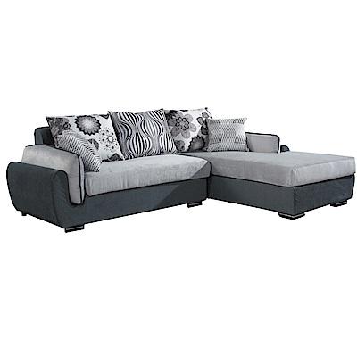 品家居 喬治丁棉麻布L型沙發(左右可選)-233x181x77-免組