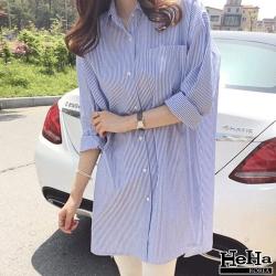 襯衫 寬鬆垂肩單邊口袋條紋上衣 淺藍-mini嚴選