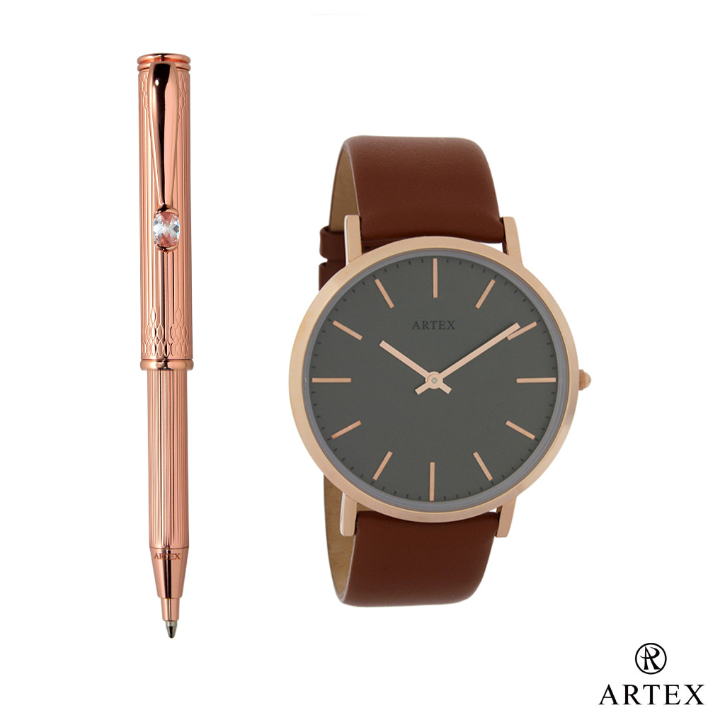 ARTEX 鍾愛伸縮原子筆+手錶 雙組合/ Victor