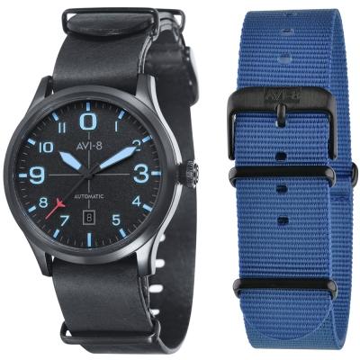 AVI-8 飛行錶 FLYBOY 飛行男孩機械錶-黑x藍/43mm