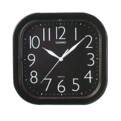 CASIO 流線大方指針方形掛鐘(黑)