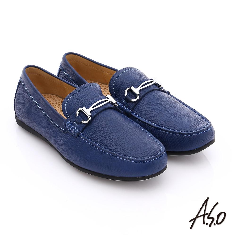 A.S.O 輕量抗震 真皮結飾縫線奈米樂福鞋 深藍色