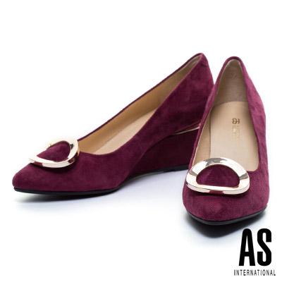 高跟鞋-AS-金屬圓釦羊麂皮美型尖頭楔型高跟鞋-紅