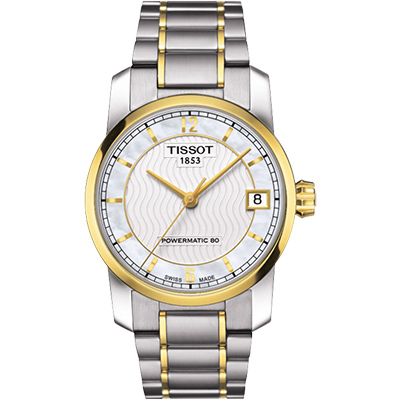 TISSOT T-Classic 【鈦】時尚機械女錶-珍珠貝x雙色版/32mm