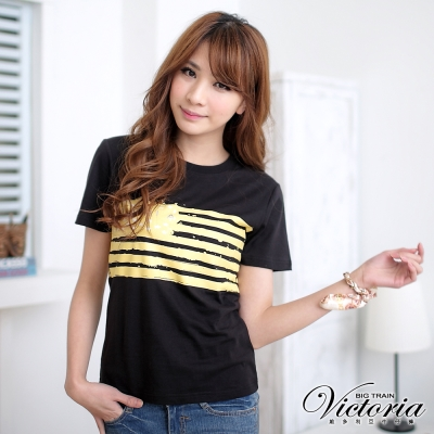 Victoria 星星條紋印花TEE-女-黑