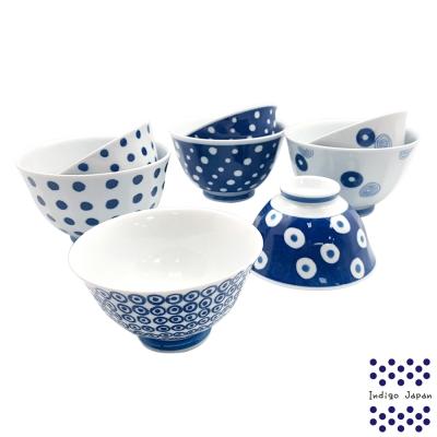 西海輕量波佐見燒5入飯碗組+3入碗公組-藍丸紋