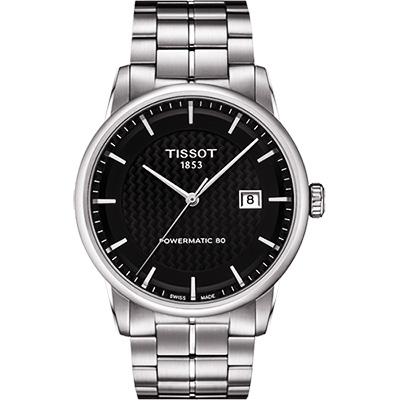 TISSOT LUXURY 動力儲存80機械腕錶-黑x銀/41mm