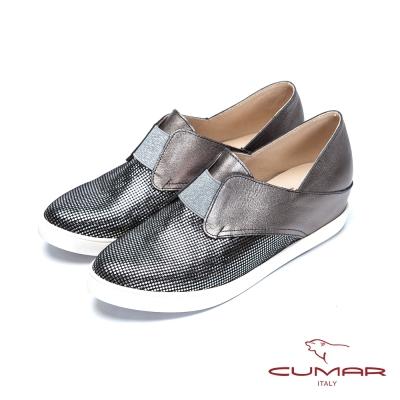 CUMAR心機美人舒適真皮隱藏增高鞋銀