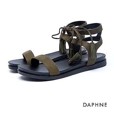 達芙妮DAPHNE 涼鞋-羅馬款綁帶絨面流蘇平底涼鞋-軍綠