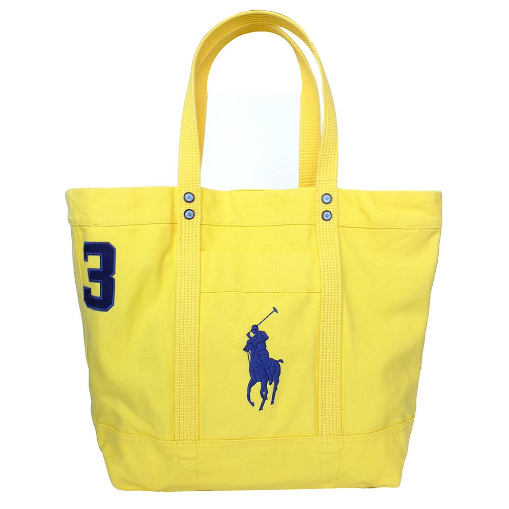 RALPH LAUREN鮮黃經典人馬Logo款大型手提/肩背托特包