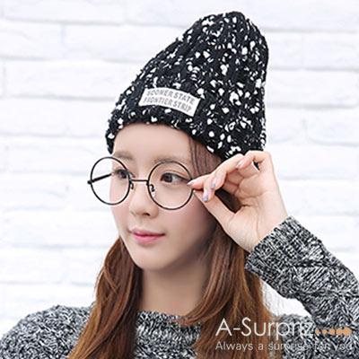 A-Surpriz 雪花混色反摺針織帽(黑白)