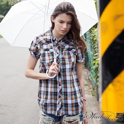 WHALE JEANS青春率性風短袖格紋襯衫-2色