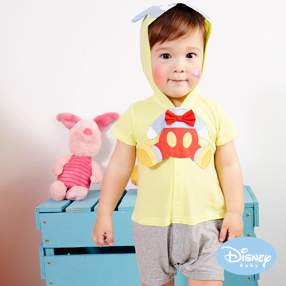 Disney Baby連帽米奇造型連身裝淺黃
