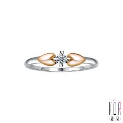 K'OR蔻兒 十分幸福鑽石/玫瑰K金/白鋼女戒指