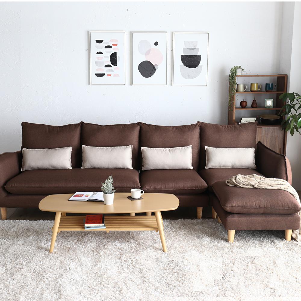 H&D 波麗簡約加大L型布沙發-多色選