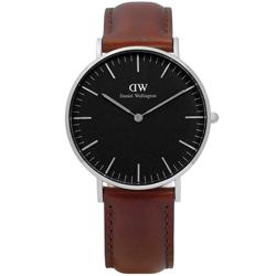 DW Daniel Wellington Black 經典簡雅真皮手錶-黑x咖啡/36mm