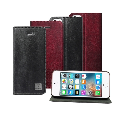 Metal-Slim Apple iPhone SE 超薄復古紋PC內層站立皮套