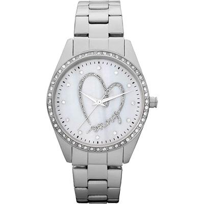 DKNY 愛戀DKNY 珍珠晶鑽腕錶-白/36mm