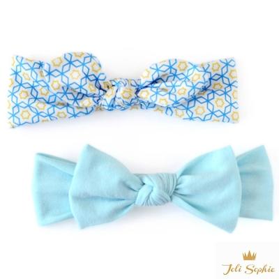 Joli Sophie 美國 藍黃萬花筒蝴蝶結髮帶2入組