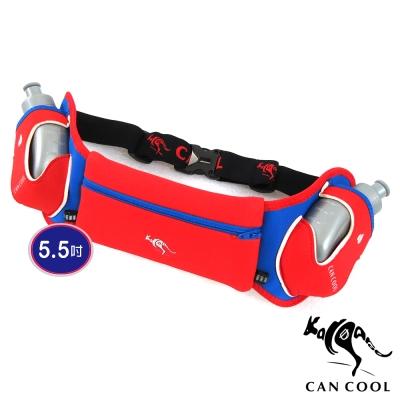 CAN COOL敢酷 馬拉松5.5吋炫彩雙水壺腰包 C150125002 (紅藍)