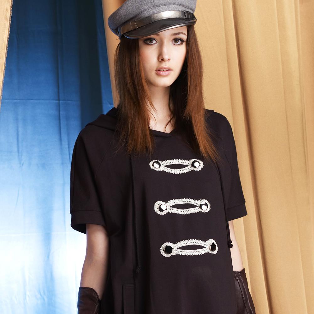 【ohoh-mini孕婦裝】愛情上尉連帽雙排釦長版孕婦上衣