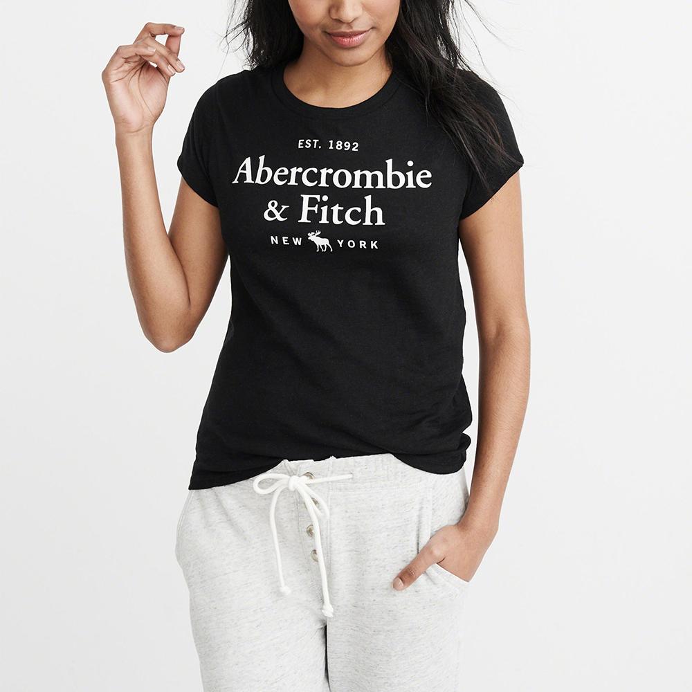 A&F 經典印刷文字大麋鹿短袖T恤(女)-黑色 AF Abercrombie