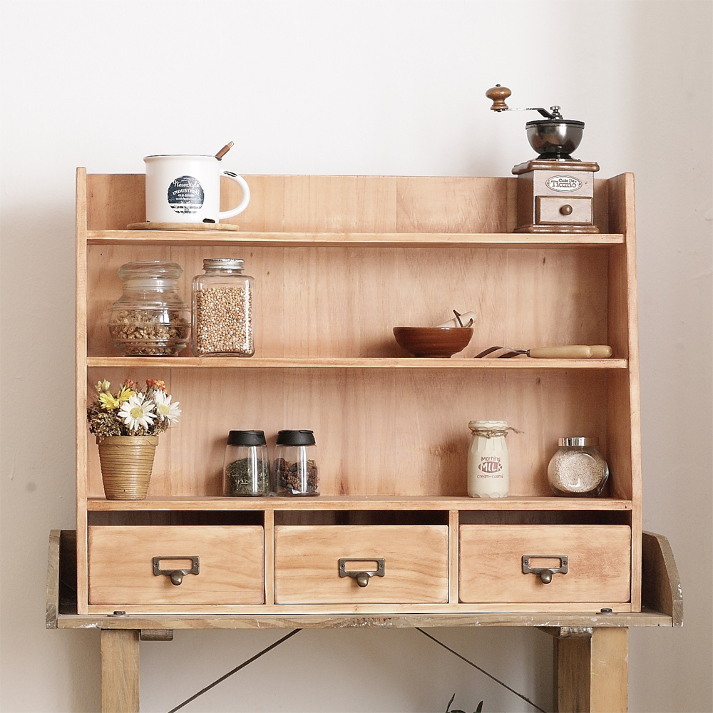 CiS自然行實木家具 三層置物-三抽-經典雜貨櫃M款-溫暖柚木色