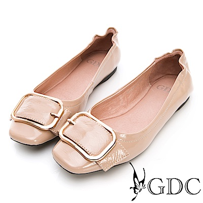 GDC-真皮扣環春夏淑女上班包鞋-米色