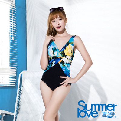 夏之戀SUMMERLOVE 比基尼泳裝 連身三角泳衣 藍黑色花朵圖騰