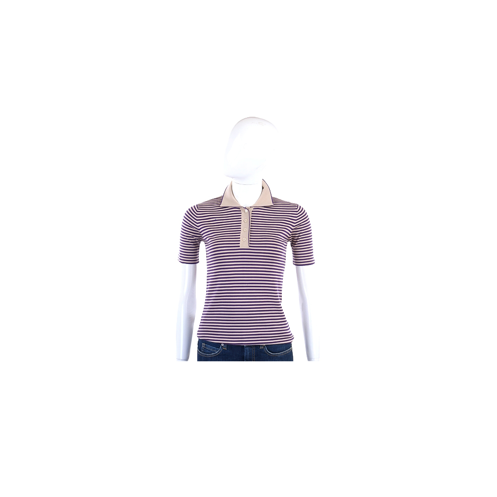FABIANA FILIPPI 紫駝色絲質條紋短袖POLO衫(展示品)