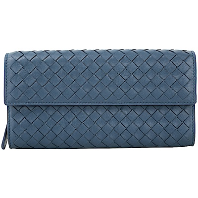 BOTTEGA VENETA 經典小羊皮手工編織長夾(藏藍)