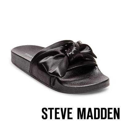 STEVE MADDEN-SILKY-BLACK 緞面蝴蝶結厚底拖-黑色