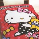 HelloKitty 法蘭絨 凱蒂貓暖暖被-小熊寶貝-紅